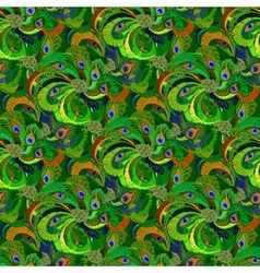 Green peacock feathers seamless pattern background vector