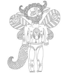 Hand drawn graphic of bizarre creature cart vector
