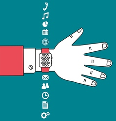 Hand wear technology smart watch with flat design vector image vector image