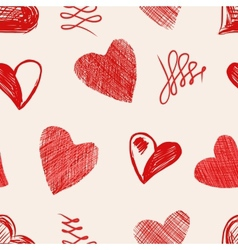 Love hearts sketch hand drawn vector image vector image