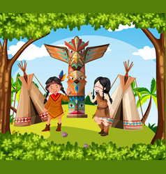 native american indians at the tribe vector image vector image