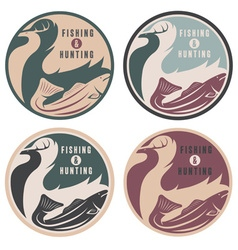 Negative space concept of hunting and fishing vector