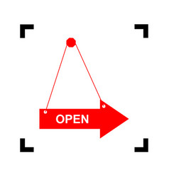 open sign red icon inside vector image