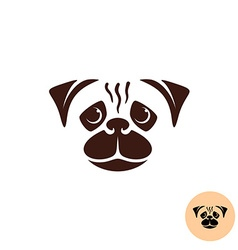 Pug dog face logo one color smooth lines style vector