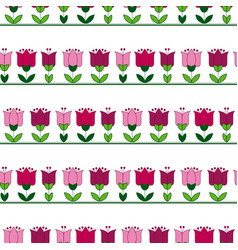 Red and pink color abstract tulip flower motif vector