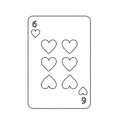 Six of hearts french playing cards related icon vector