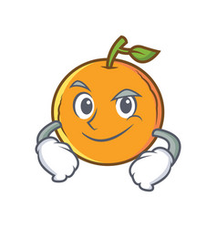Smirking orange fruit cartoon character vector