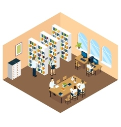 Student Library Isometric Design vector image
