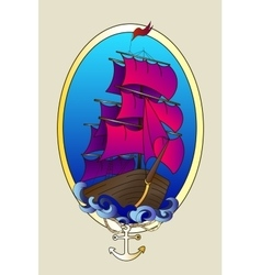 Tattoo ship color vector