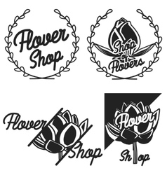 Vintage flower shop emblems vector