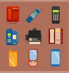 Vintage phones retro lod telephone call vector
