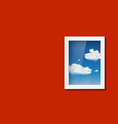 Window with sky and clouds vector image vector image