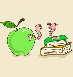 with apple worm and bookworm vector image