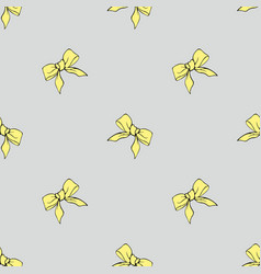 Yellow bows seamless pattern vector