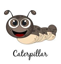 Cute caterpillar cartoon isolated on white vector