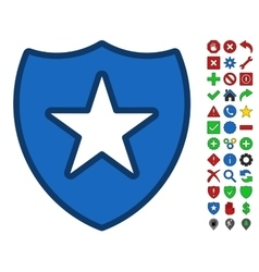 Shield star symbol with toolbar icon set vector