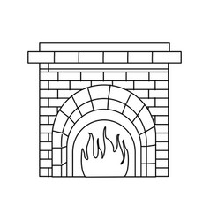 Christmas chimney fire brick decoration outline vector