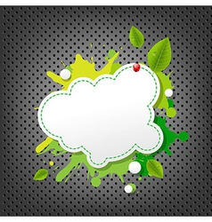 Metal background with green eco speech bubble vector