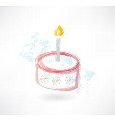 Cake and candle grunge icon vector