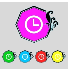 Clock sign icon mechanical symbol set colourful vector