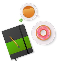 Scene with notebook and tea vector