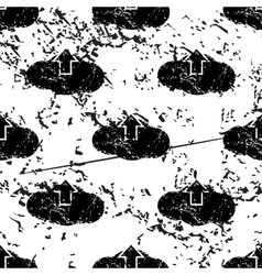 Cloud upload pattern grunge monochrome vector