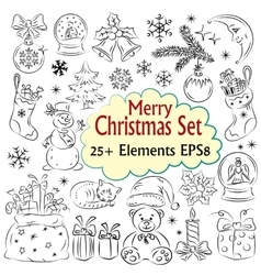 Beautiful christmas sketch collection vector