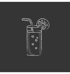 Glass with drinking straw drawn in chalk icon vector