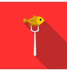 Fish on fork icon flat style vector