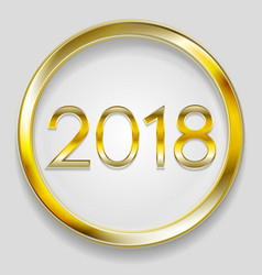 Abstract 2018 new year golden circle button vector
