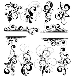 Black and white flourishes vector