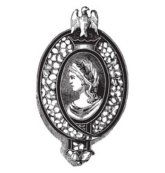 Brooch pin diamonds on blue enamel vintage vector
