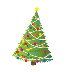 Cartoon christmas tree flat sticker icon vector image vector image