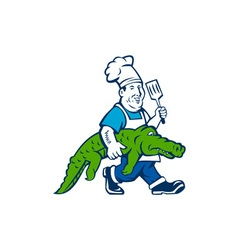Chef Alligator Spatula Walking Cartoon vector image vector image