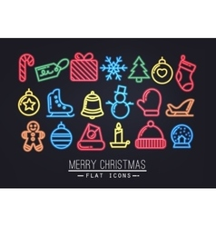 Christmas flat icons neon vector
