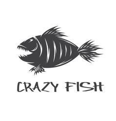 Crazy fish mascot design template vector
