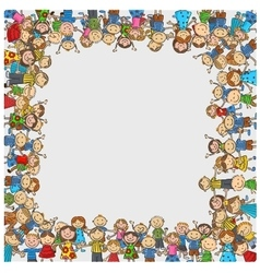 Crowd of children with a box shaped empty space vector