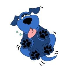 cute blue dog cartoon vector image vector image
