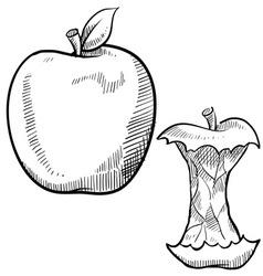 Doodle apple core vector