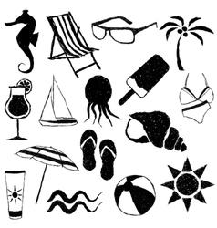 Doodle beach images vector