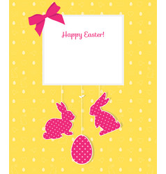 easter card with egg rabbits and seamless pattern vector image vector image