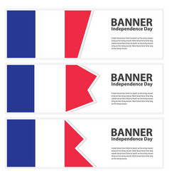 France flag banners collection independence day vector