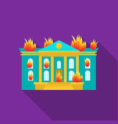 House on fire icon flat single silhouette fire vector