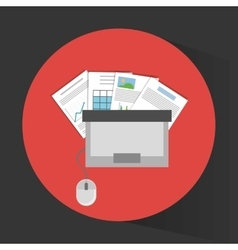 Laptop topview and office related items icon vector