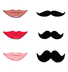 Lips and mustache vector image