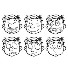 man with six different facial expressions vector image