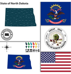 Map of North Dakota with seal vector image vector image