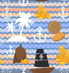 Marine background Palms anchor steering wheel vector image vector image