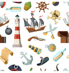 marine seamless pattern with different pirates vector image vector image