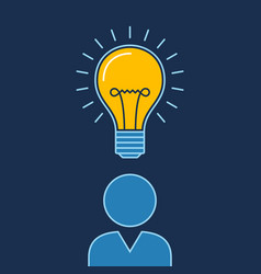 Person with lit bulb above head new idea business vector